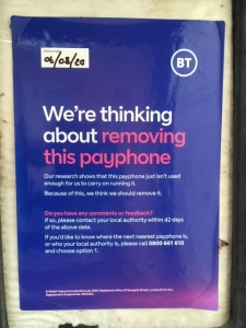 BT sign posted on phone box